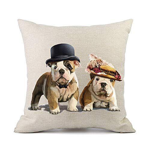 Moyun Cute Pet Bulldog Dogs Cushion Covers Cotton Linen T