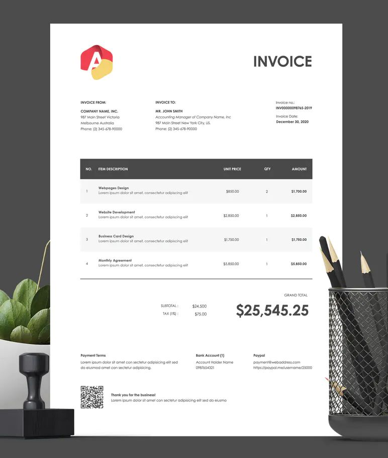 Invoice Template 21 by BooStock on Envato Elements
