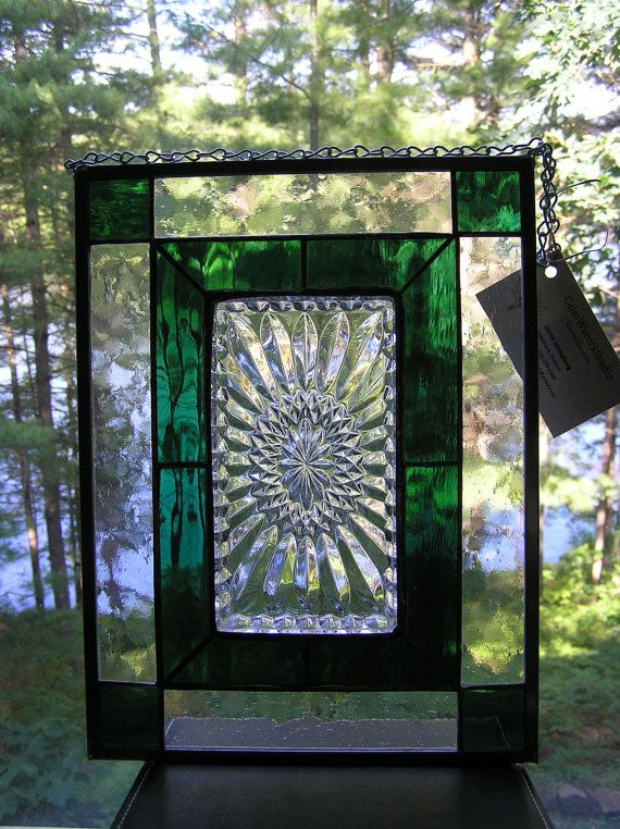 Beautiful stained glass panel, with clear vintage patterned plate ...