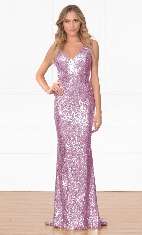 Elegant Encounter Pink Sequin Sleeveless Spaghetti Strap V Neck X ...