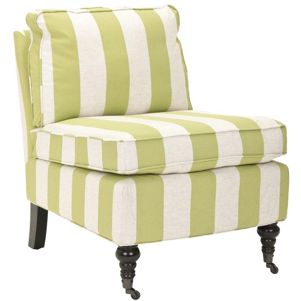 Armless club chairs - Safavieh Bosio Striped Beige Green Armless Club Chair Fabric