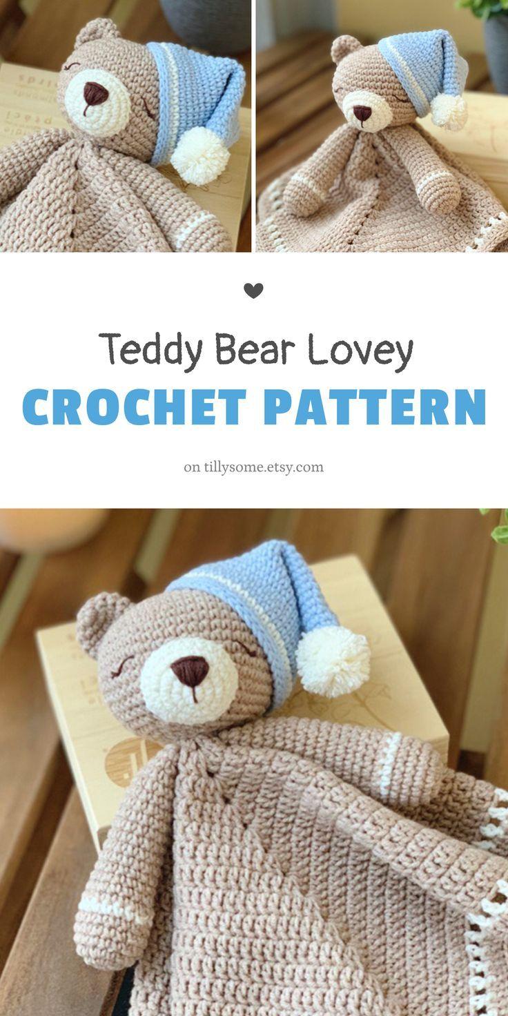 Teddy Bear Lovey Crochet Pattern   Security Blanket   Comforter   PDF Crochet Pattern