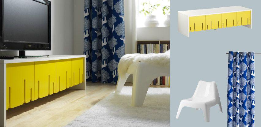 IKEA PS 2012 TV-Bank weiss mit Falttüren gelb IKEA Wohnzimmer - wohnzimmer gelb weis