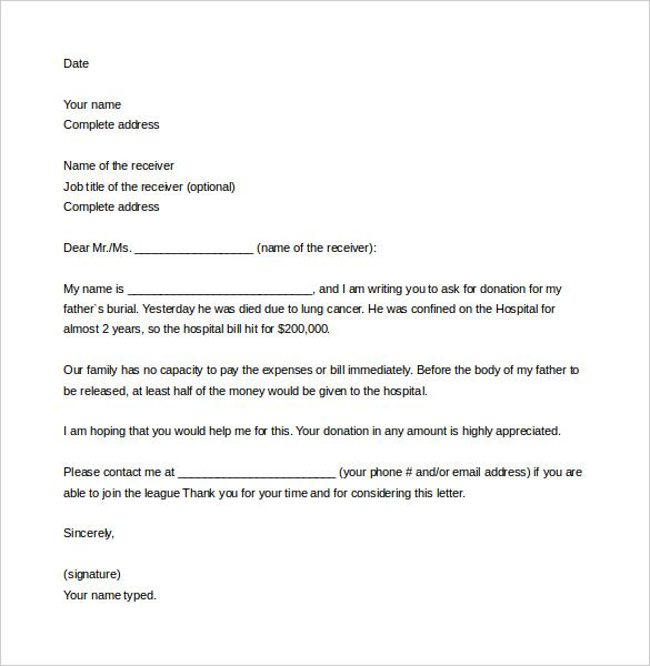 Sample Letter Asking For Donation template Fundraising letter