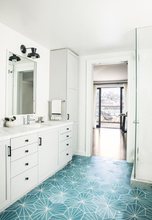 Eye Catching Turquoise Blue Cement Floor Tiles Accent A Light Gray Dual Bath Vanity Fitted With Oil Rubb Yellow Bathroom Decor Yellow Bathrooms Dream Bathrooms