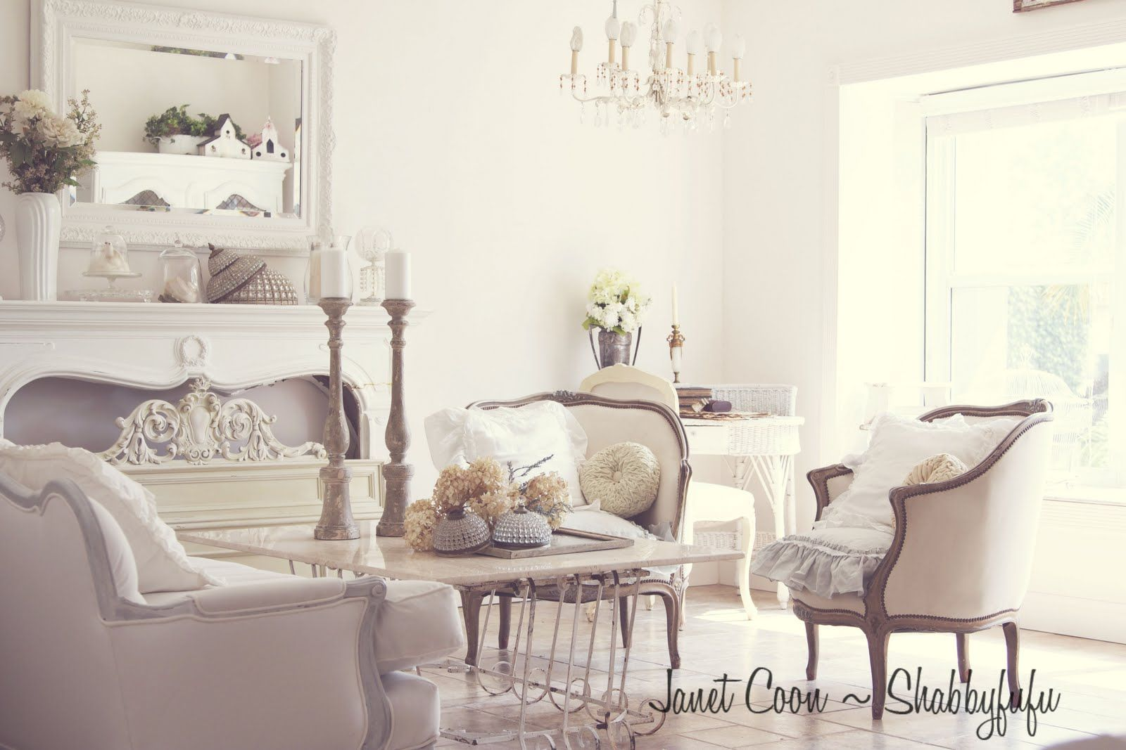 interesting french style white living room | beautiful french rooms | Shabbyfufu: White Living Room ...