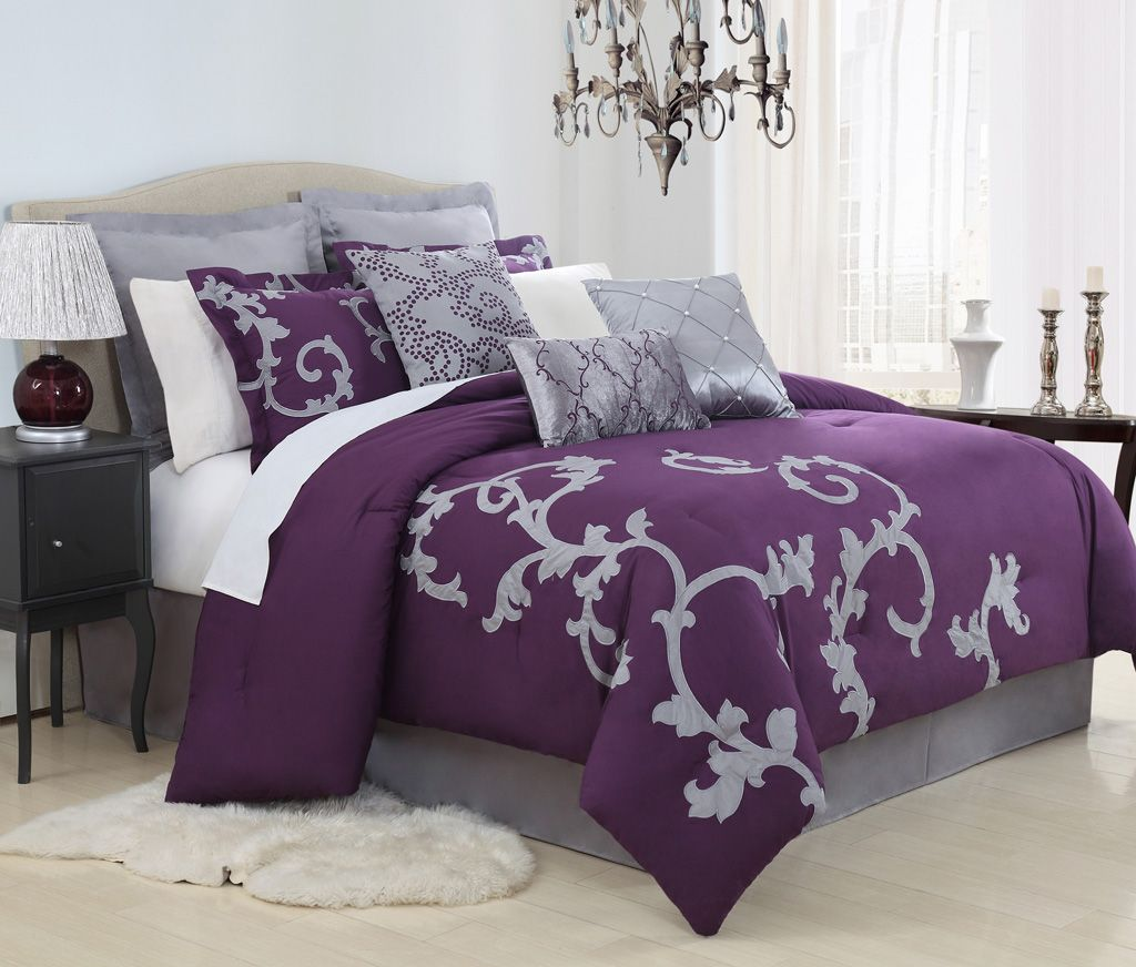 13 Piece Cal King Duchess Plum and Gray Bed in a Bag Set Bedding