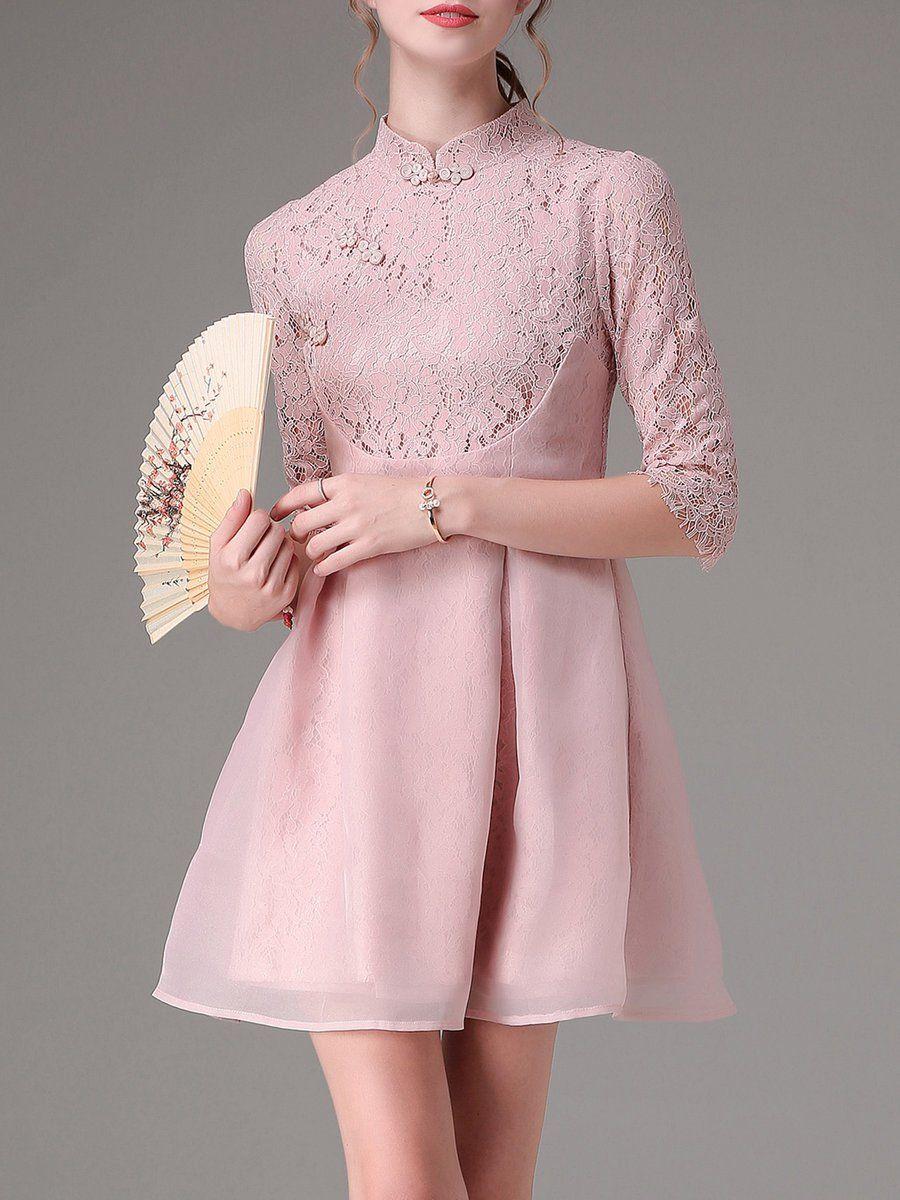 Shop Mini Dresses - Pink Vintage Stand Collar Paneled Mini Dress ...