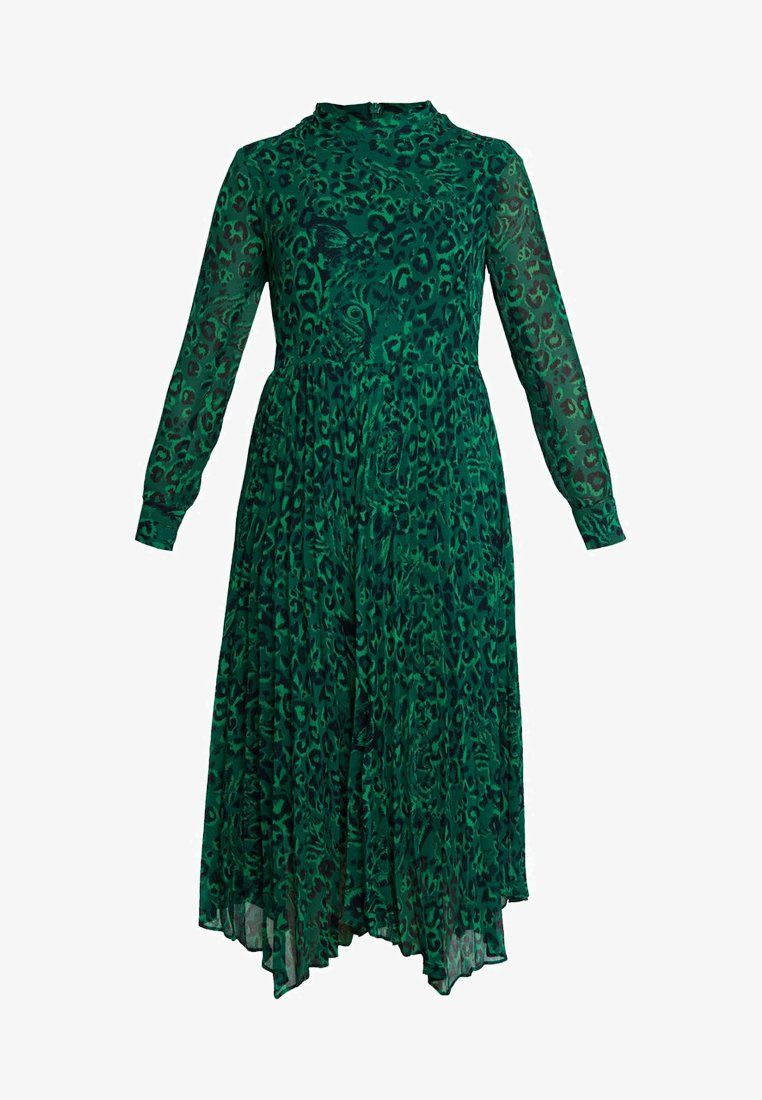 whistles jungle cat pleated dress - maxikleid - green multi
