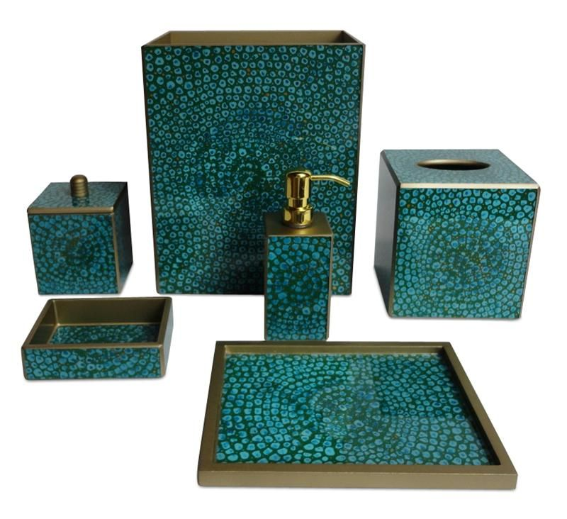 Brown bathroom accessories 6 charming turquoise bathroom for Teal bathroom accessories sets