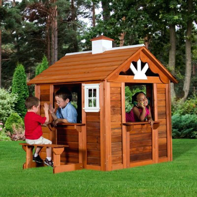 Outdoor Playhouse For Kids Wood Play House Cedar Cottage Playhouse