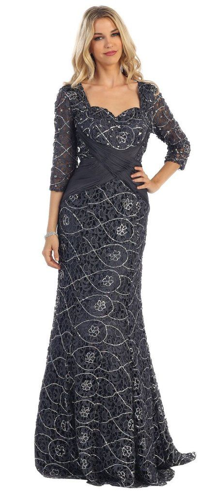 a7d7ccaab170 Long Sleeves Lace Mother of Bride Gown Plus Size Formal - The Dress Outlet  - 1