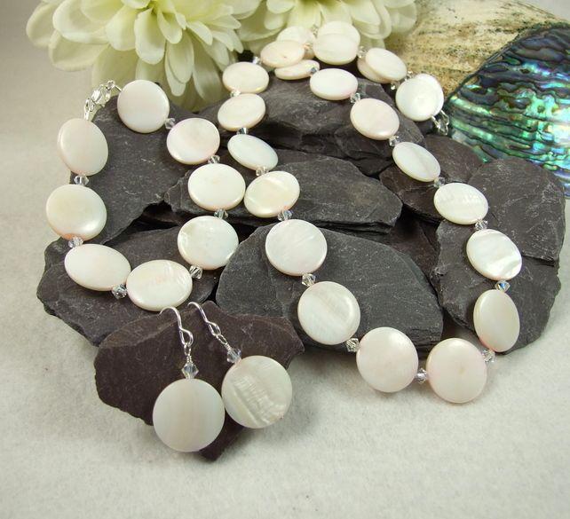 Necklace, Bracelet & Earrings, Pink Shell with Swarovski Elements® & 925 Silver £35.00