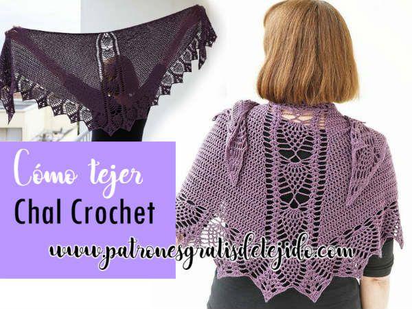 Chal Triangular con Piñas y Varetas / Crochet | Crochet y Dos agujas ...