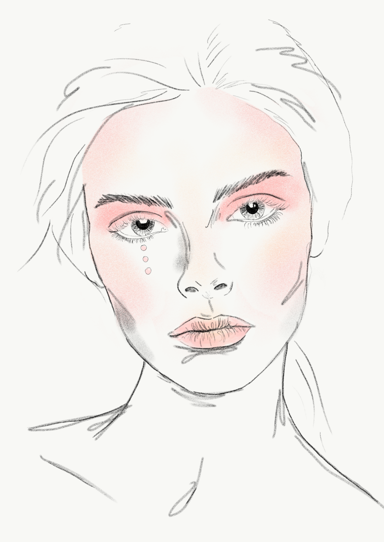 Pink shimmer makeup look with pearl tears Sketches, Pink