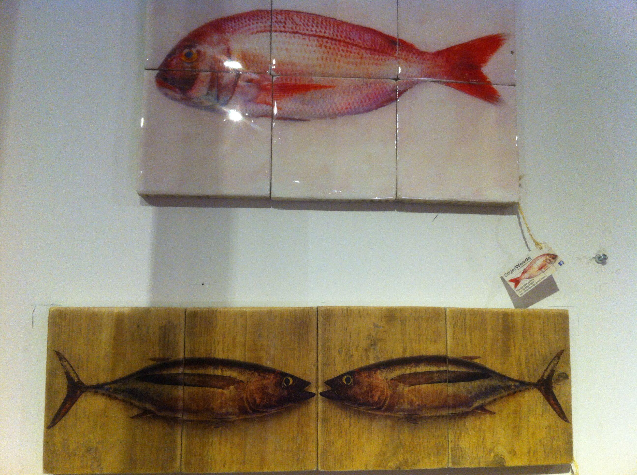 Vis op tegels of hout. leuk voor in de keuken. gezien bij hutspot ...