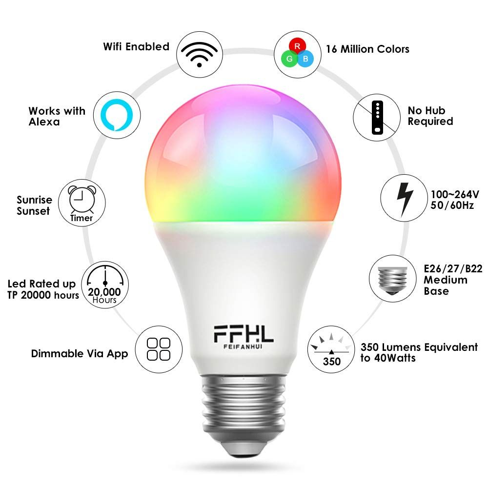 Ffhl Wifi Led Smart Light Bulbs That Work With Alexa Color Changing And Daylight Dimmable By App For Google Home Wake Up And Smart Light Bulbs Light Bulbs Bulb