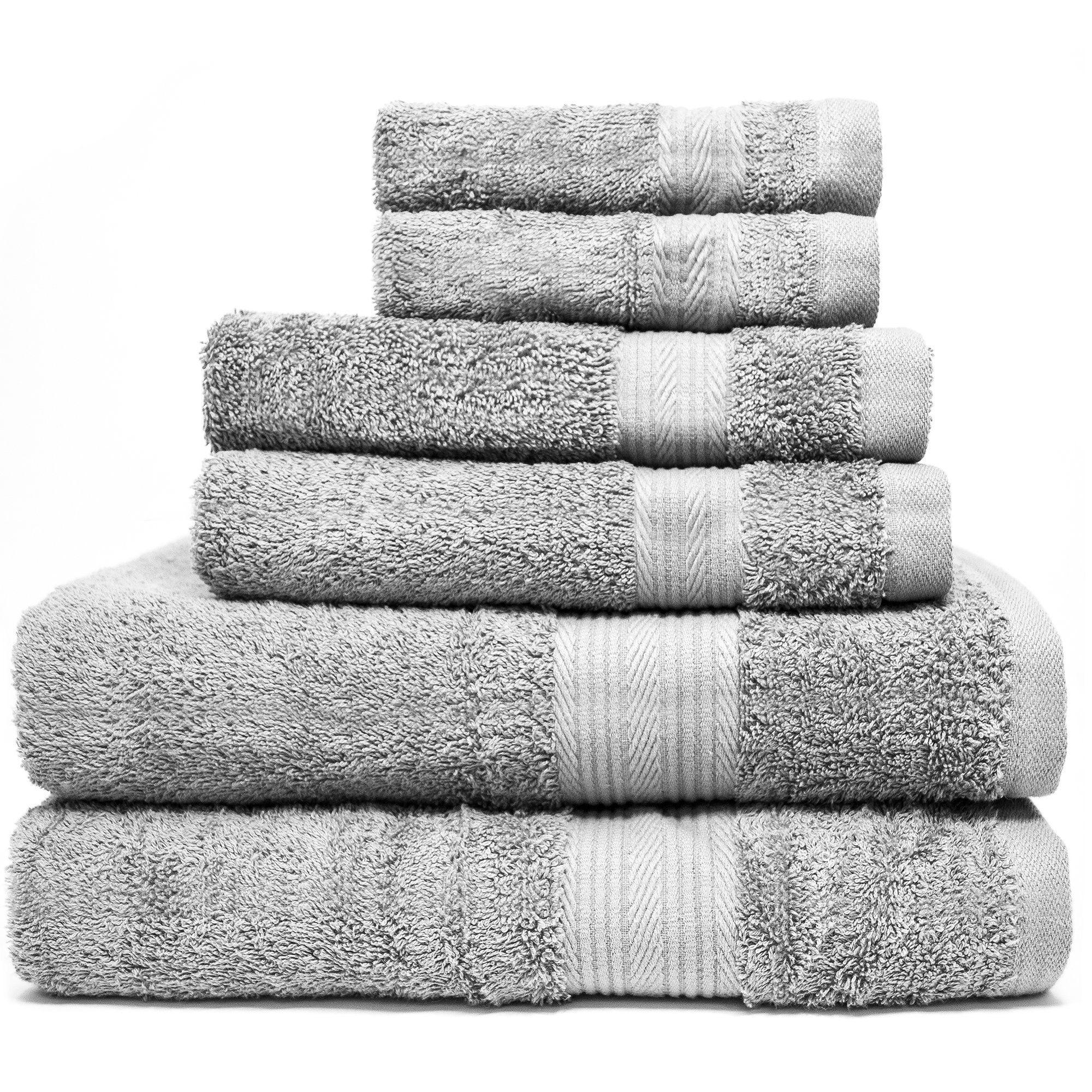 Zeppoli 6 Piece Towel Set 100 Cotton Grey Towels 2 Bath
