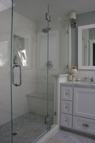 The Main Bath Floor Is Carrara Marble Tiles Cut 6x12 And In The
