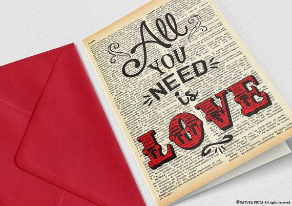 All you need is love card love card anniversary card engagement card