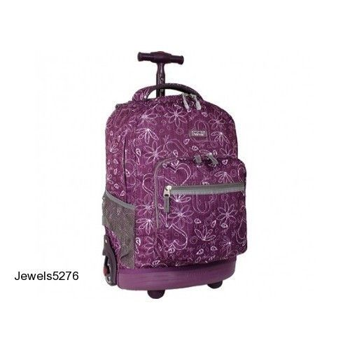 18 034 Rolling Backpack Book Bag Carrying School Laptop Luggage Wheels Purple S