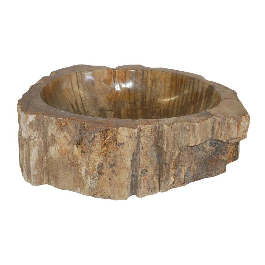 Eden Bath Petrified Wood Stone Vessel Round Bathroom Sink 6740689
