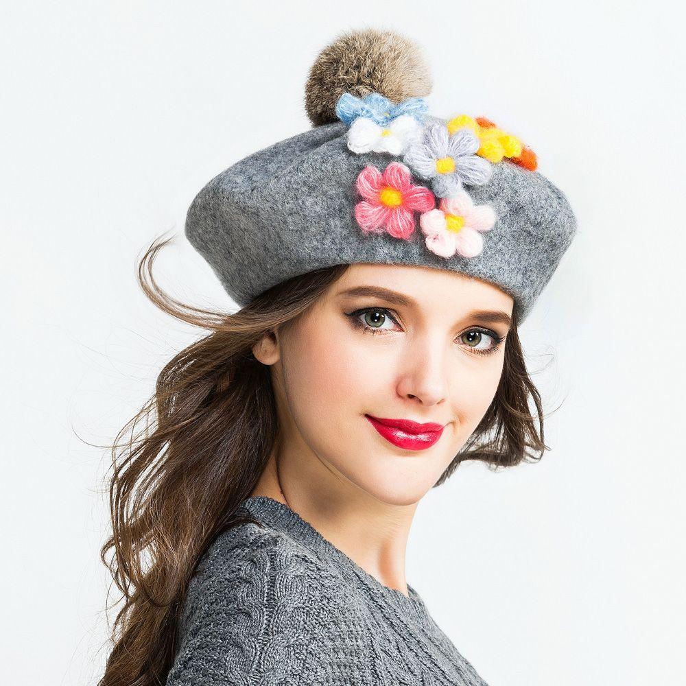 Flower beret hat Hairball trilby hat best birthday gift