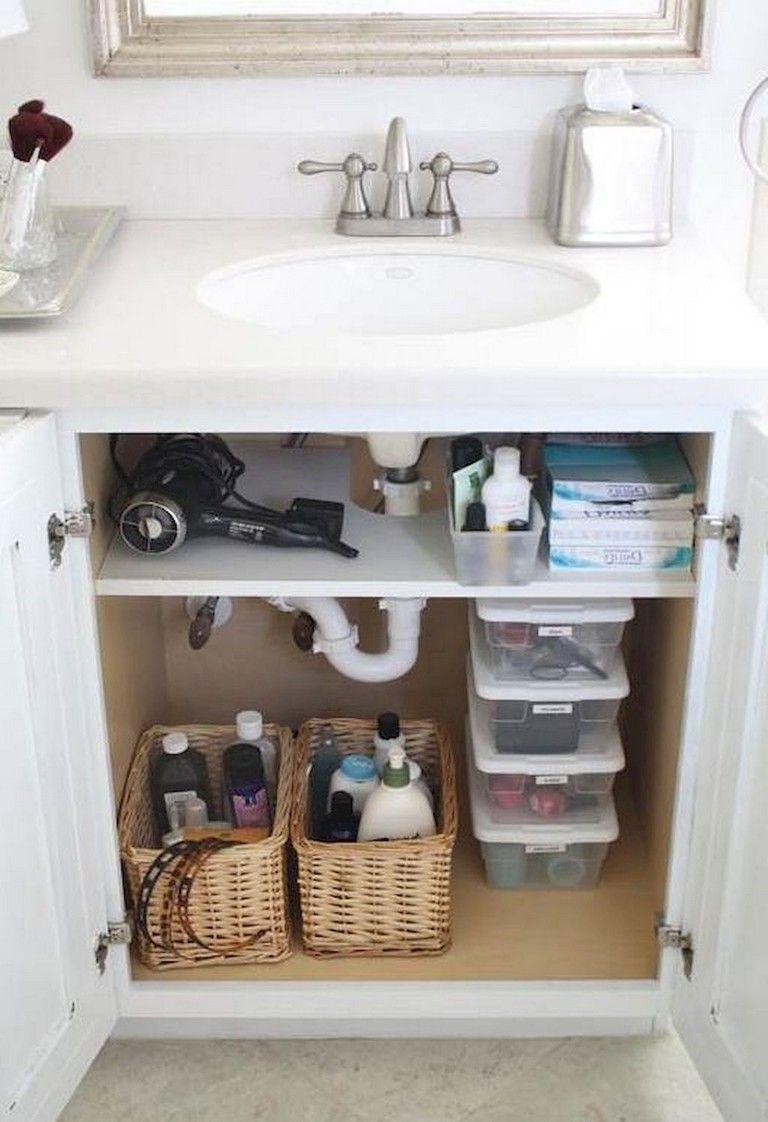 75 Inspiring Small Apartment Bathroom Remodel Ideas Small Bathroom Storage Bathroom Sink Storage Easy Bathroom Organization