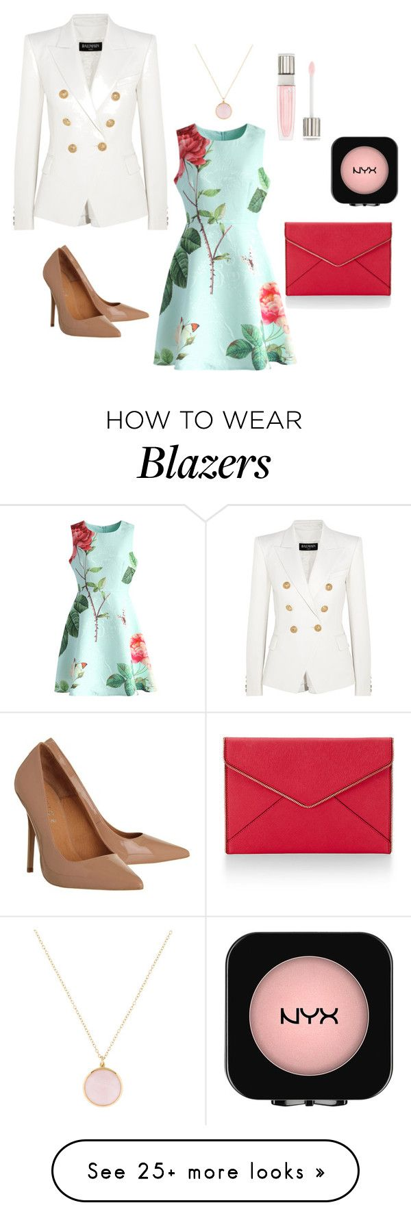 """""""military blazer"""" by angie-l88 on Polyvore featuring Balmain, Chicwish, Office, Rebecca Minkoff, Ippolita, Lancôme, NYX, Pumps and blazer"""
