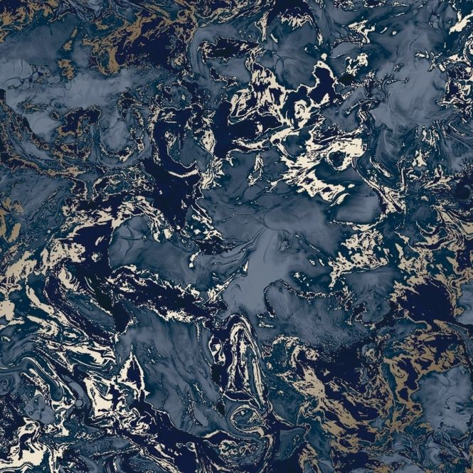 Liquid Marble Wallpaper Blue Gold in 2020 Marble effect
