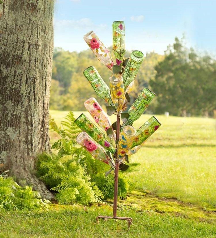 dekorierte Glasflaschen als Gartendeko Glasflaschen Pinterest - gartendekoration selber basteln