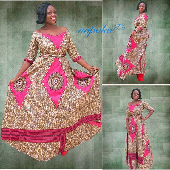 Robe Africaine: Ankara Maxi Dress,African Print Long Dress,Long Sleeved