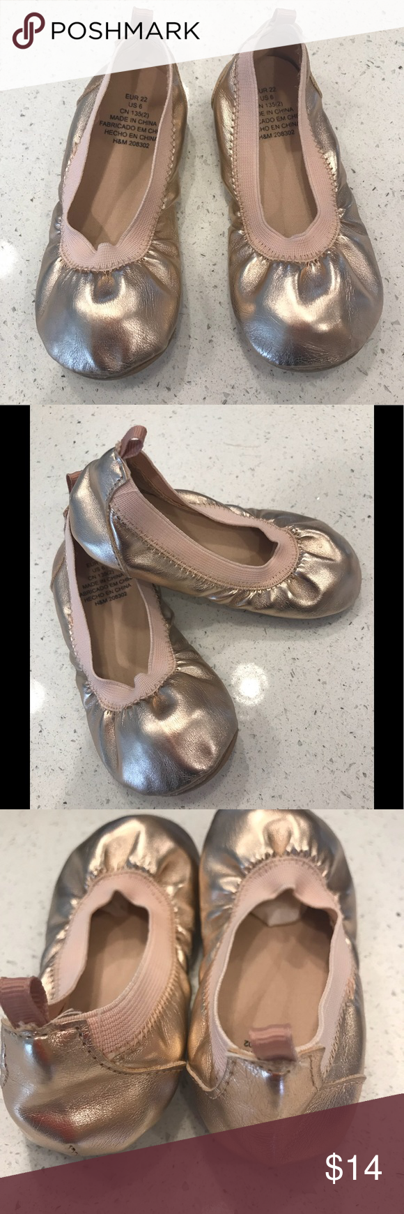7 FIRM H&M Toddler Rose Gold Ballet Flats Sz 6 Rose
