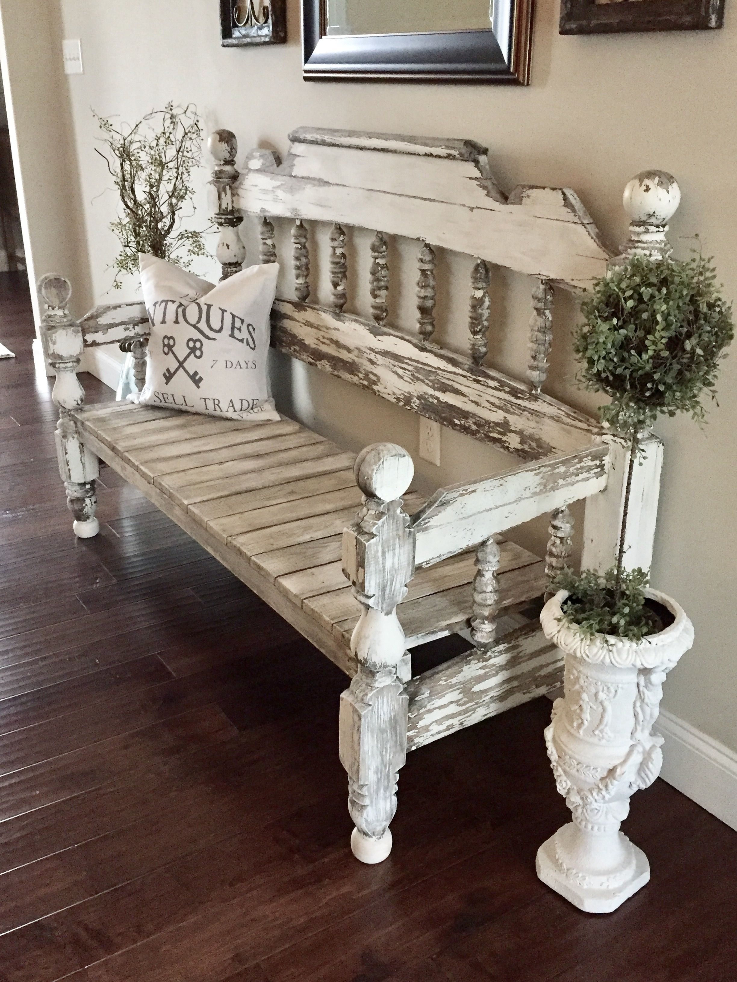 Bench made from full size headboard and footboard. D E C