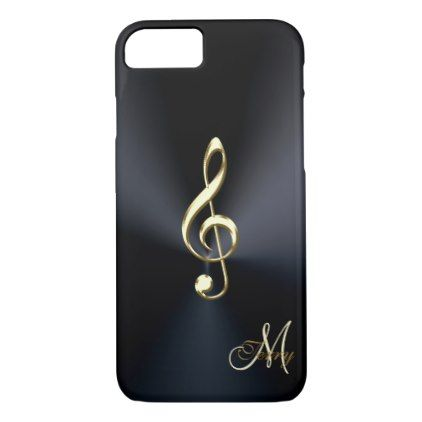 #monogrammed - #Elegant Black Gold Music Clef iPhone 7 Case