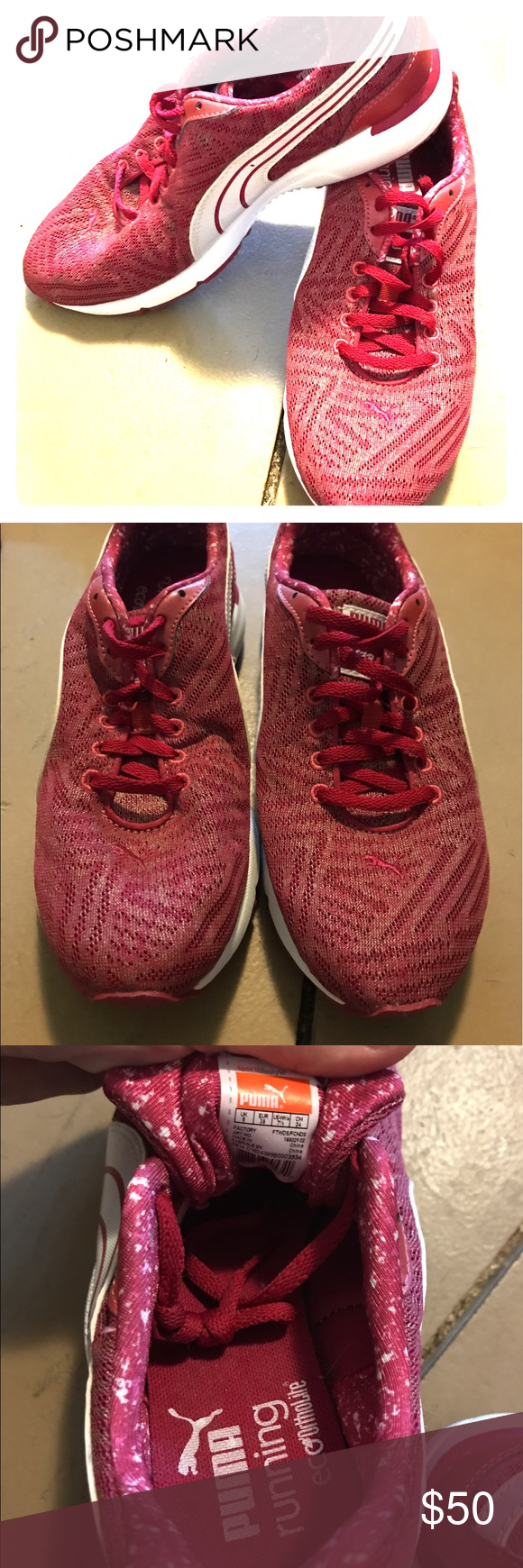 68be4eccd5d4 Puma Red Running Shoes 7.5