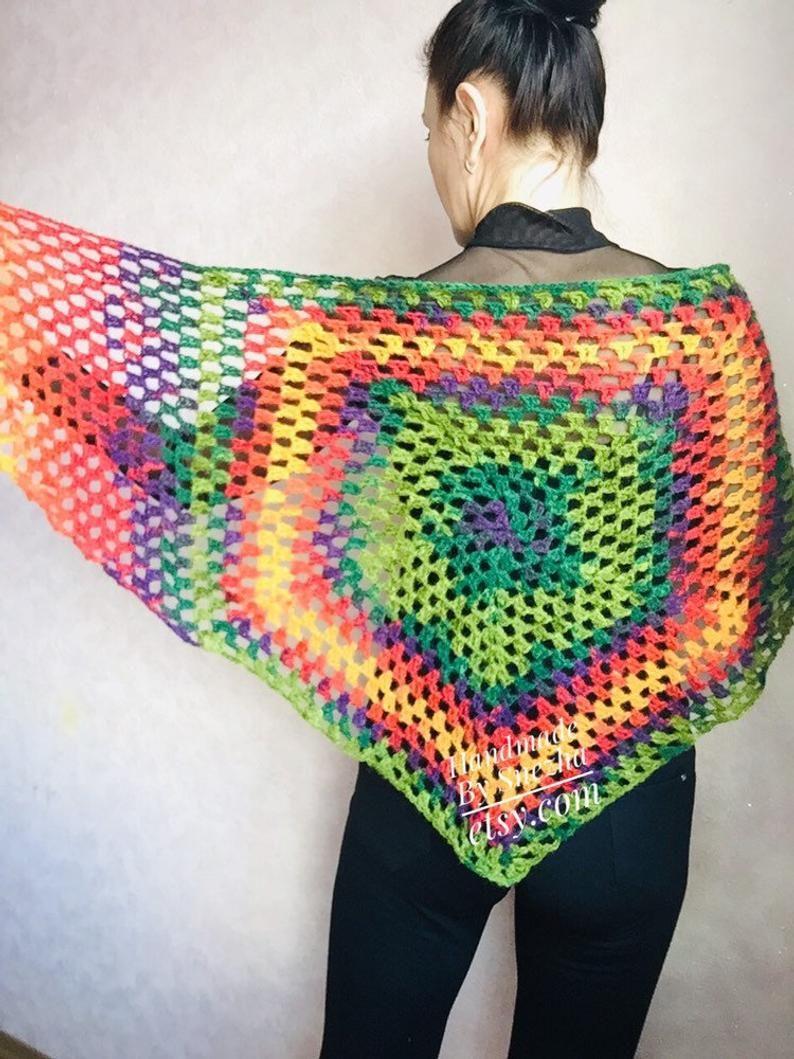 Burnt Orange shawl Granny square crochet triangle Chunky knit | Etsy