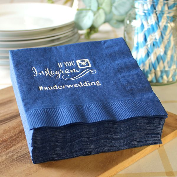 Display Your Personal Wedding Hashtag On These Custom Printed Instagram Cocktail Napkins Available In 26