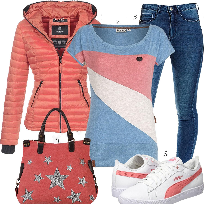 Stile Rosa модные Frühlings Hellblaues Outfit Für FrauenA OiwkZPuXTl