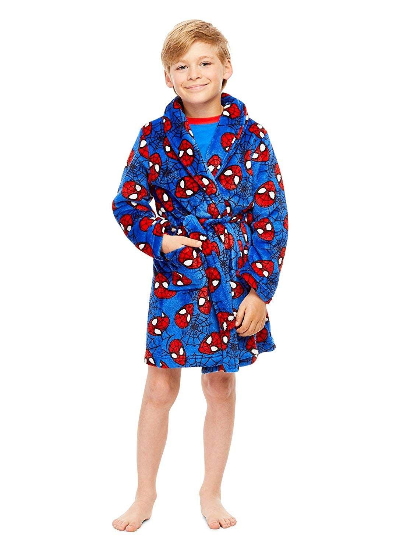 Robe Spider-Man Boys Gray Fleece Print Bathrobe