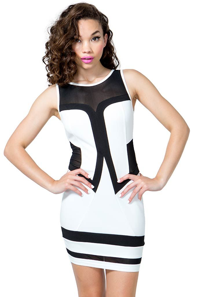 A curve-hugging bodycon dress featuring contrast trimming and sheer mesh  insets. Round neck. Sleeveless. V-cut back with an exposed zip closure. 392f2a265