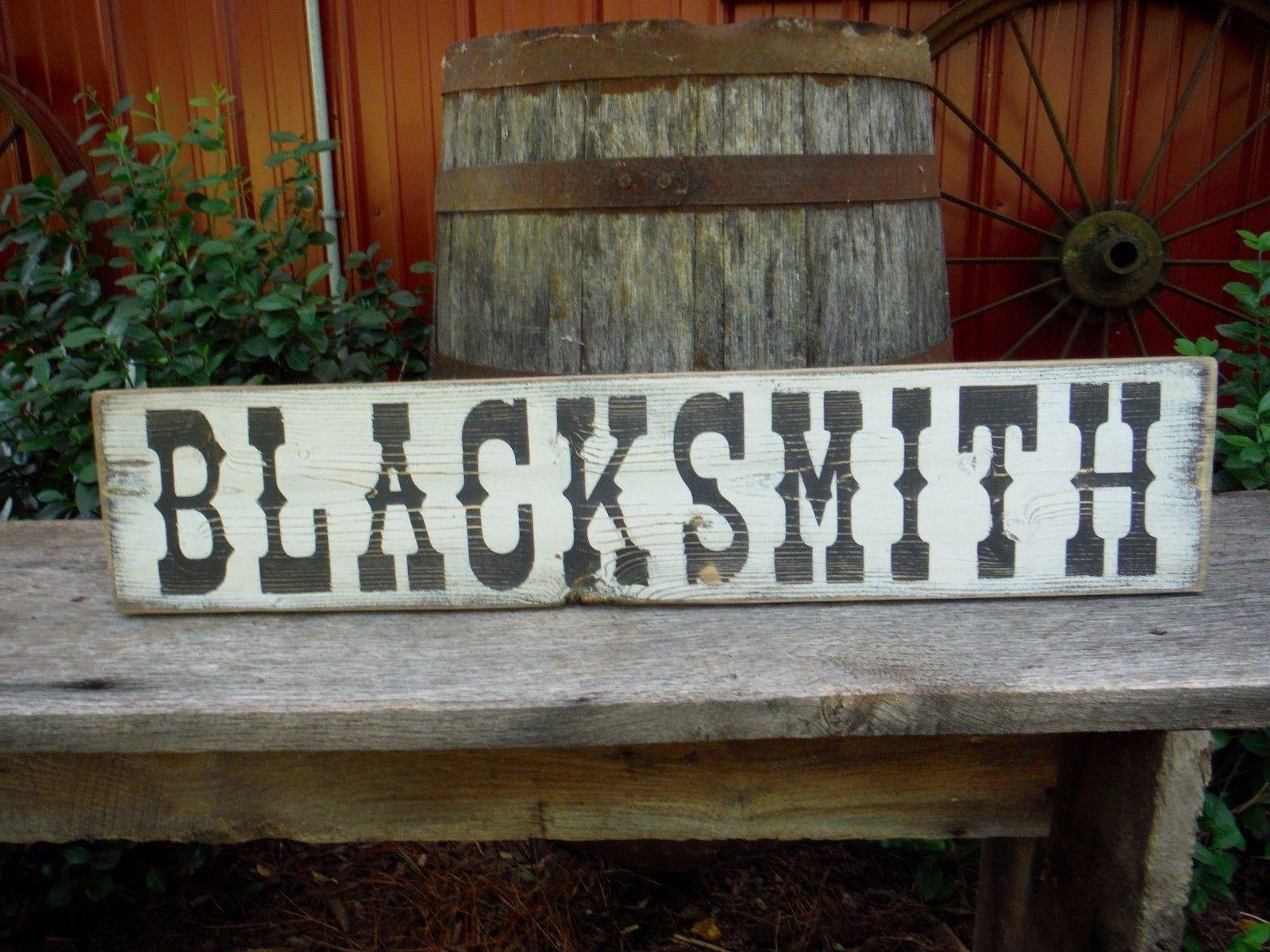 26 Blacksmith Western Wood Sign Vintage Rustic Horse Advertisement Ebay Wood Signs Vintage Signs Blacksmithing