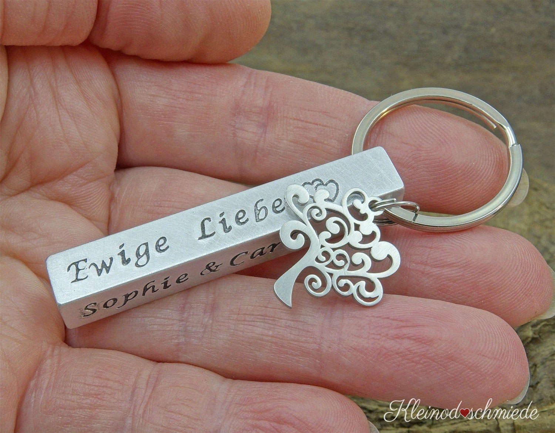 Aluminum Bar Keychain Keyfob Hand Stamped Tree Of Life