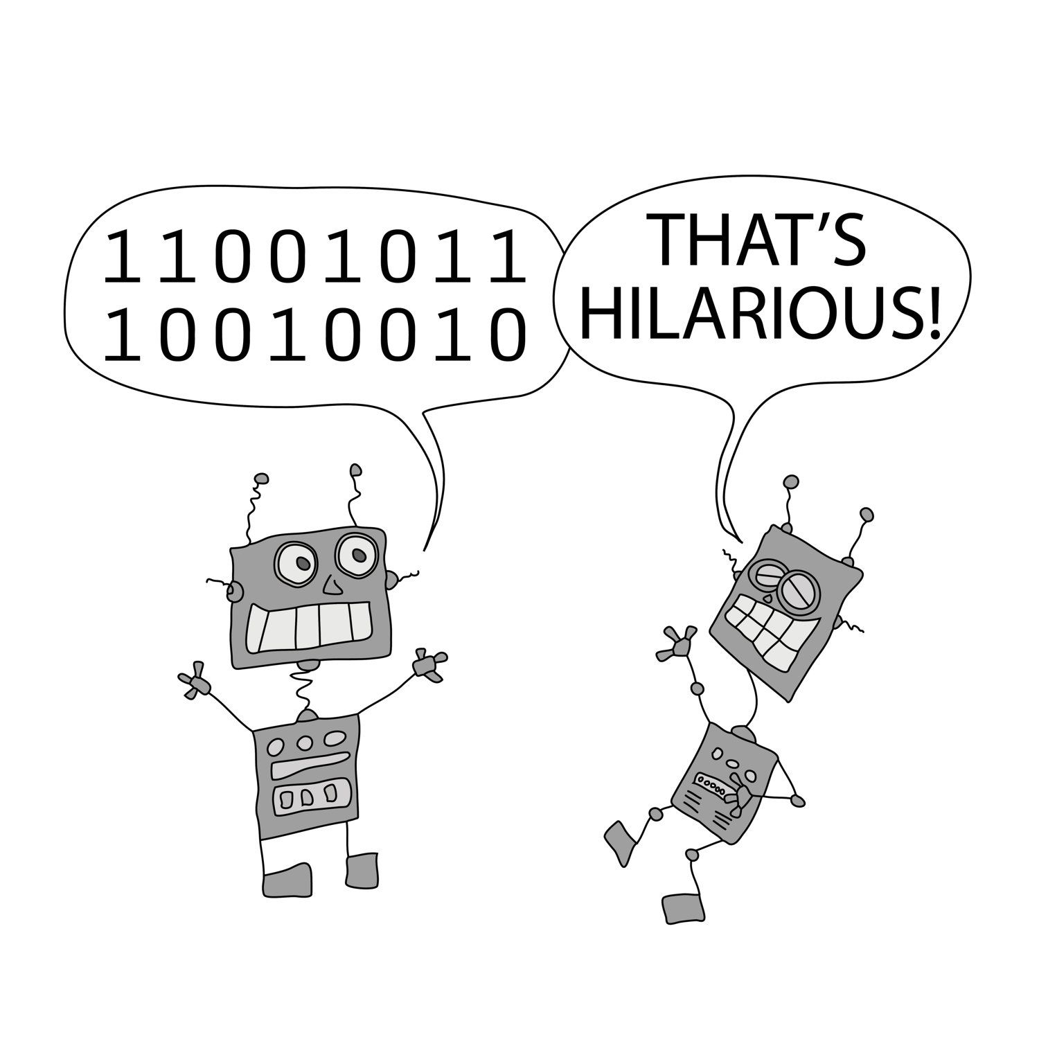 Cartoon Of Two Funny Robots That Make A Joke In Black Wooden Frame