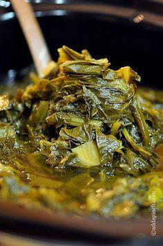Slow Cooker Turnip Greens Recipe via @addapinch