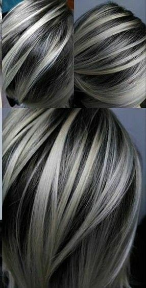 bold silver highlights hair color