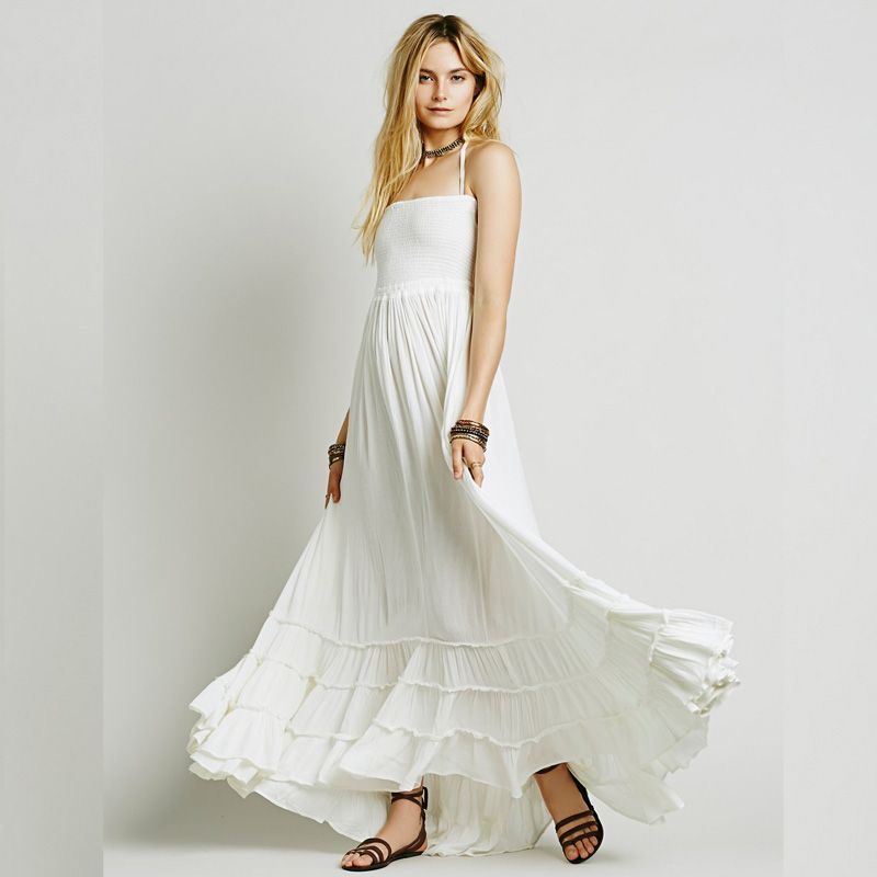 c51cc81ec92 Flowing hippie lady clothes latest white backless beach dress