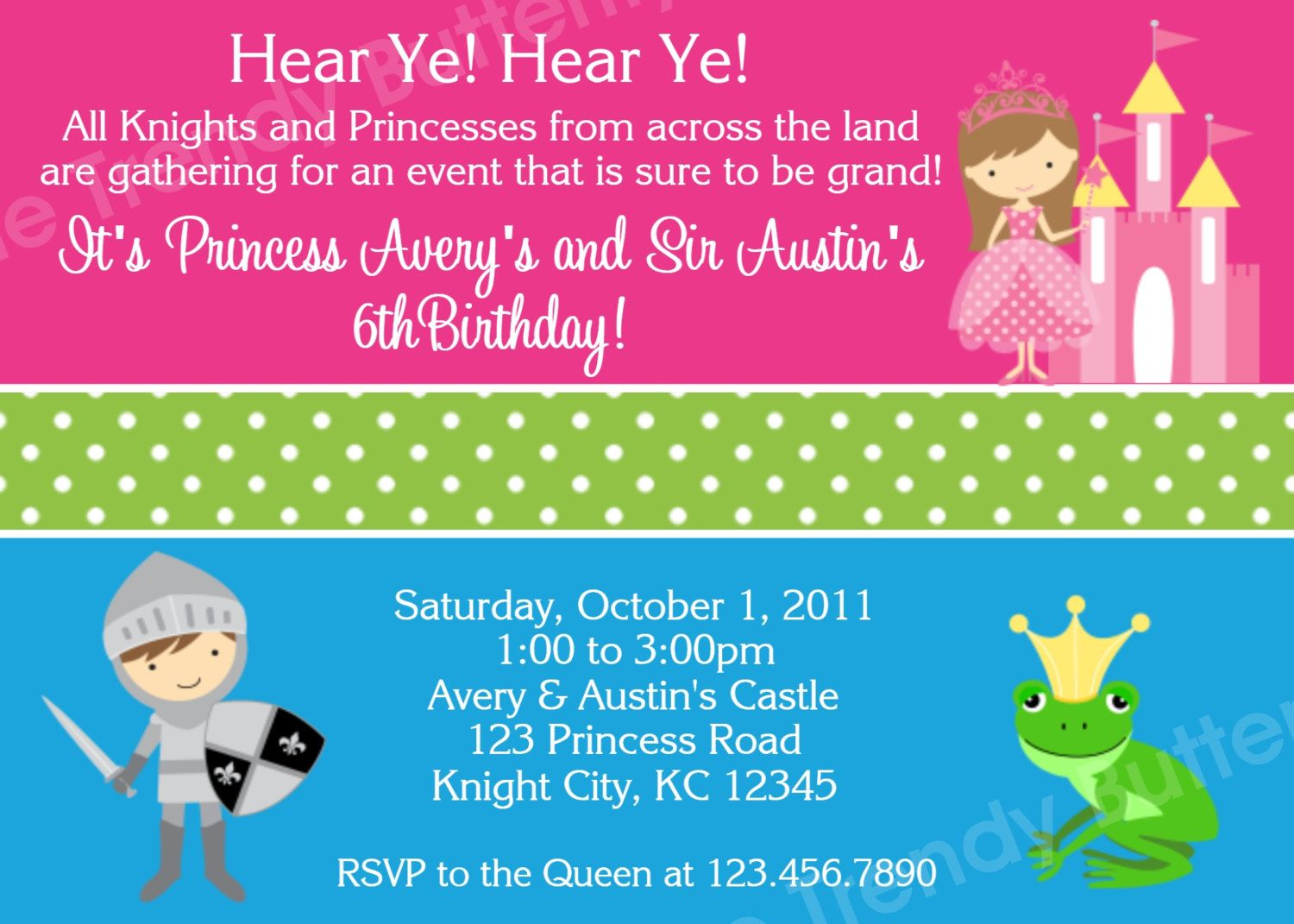 Princess and Knight Prince Birthday Invitation Princess and Knight – Princess and Knight Party Invitations