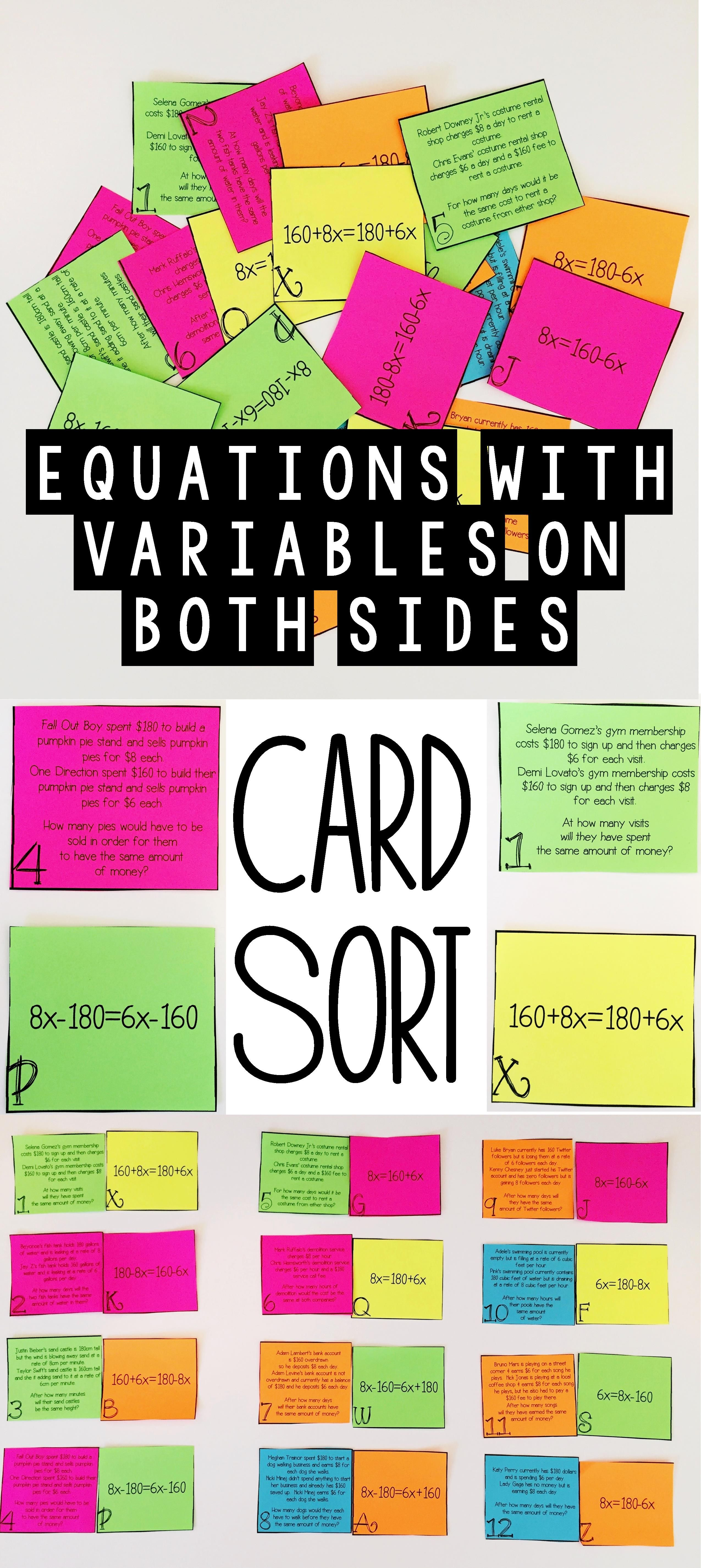 Equations With Variables On Both Sides Word Problem