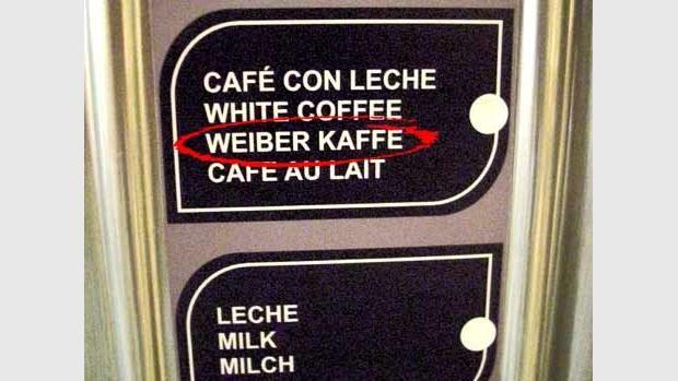 """Ein Klassiker. Das deutsche """"ß"""" ist ein schwieriger Buchstabe. Gefunden auf Ibiza."""